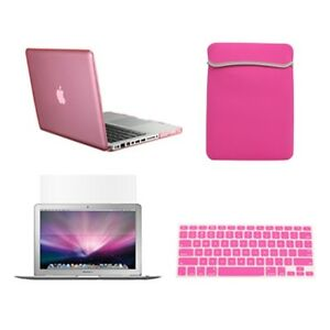 4-in1-Crystal-PINK-Case-for-Macbook-PRO-13-Keyboard-Cover-LCD-Screen-Sleeve-Bag
