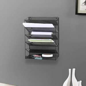 Desk Wall Mount Letter 6 Tray Office Organize Paper Holder