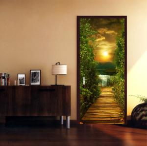 3D-Sunset-Wood-Bridge-Door-Wall-Mural-Wallpaper-Stickers-Vinyl-for-Bedroom