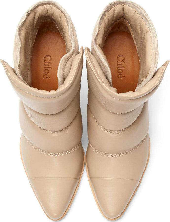 Chloé Nude Taupe Quilted Leather Suede Ankle Ankle Ankle bottes Taille 38.5 d8fbe8