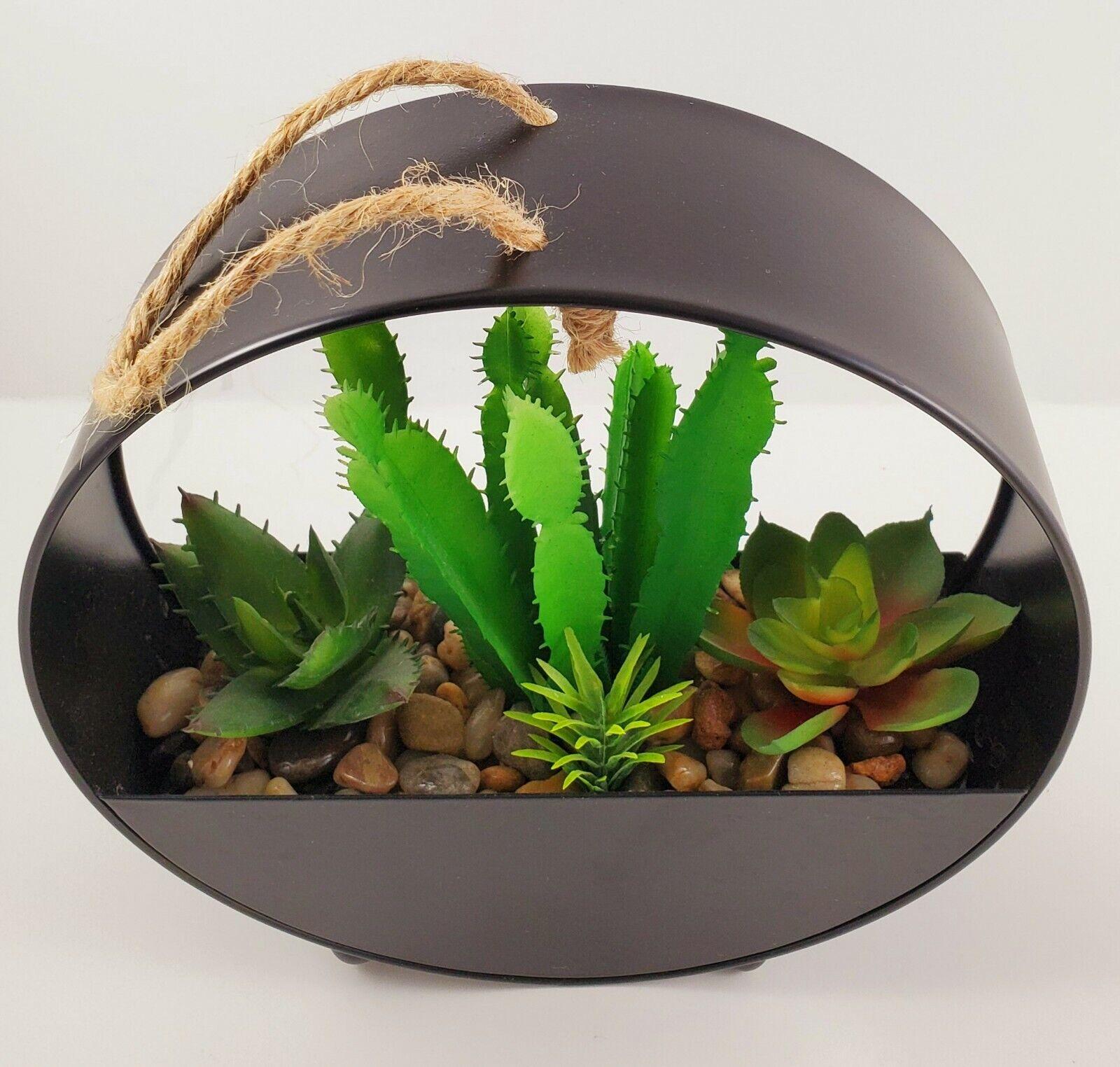"NEW Modern Industrial Round Metal Artificial Succulent Planter 7.5/"" Tall"