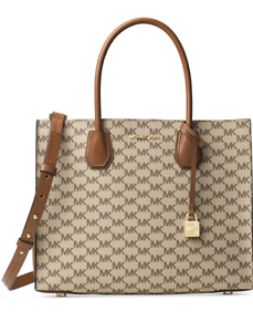 d832ead2386551 Image is loading NWT-Michael-Kors-NATURAL-LUGGAGE-Signature-Mercer-Large-