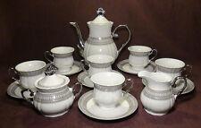 Gorgeous Silver Accent Fine Porcelain China Coffee / Tea Set