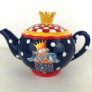 Mary-Engelbreit-QUEEN-OF-THE-KITCHEN-Cute-Colorful-Teapot-1999-Vintage-EUC