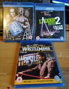WWE-Blu-Ray-Bundle-Lot-WrestleMania-Money-In-The-Bank-Ladder-Match-ECW-WCW-Cena