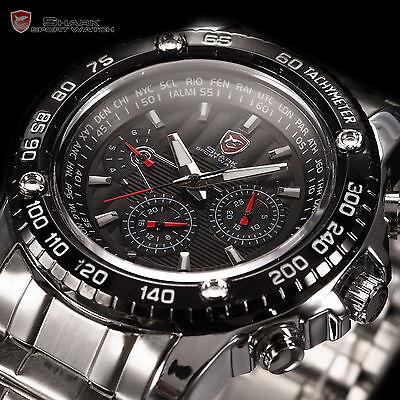 SAW SHARK Fashion Men Sport Military 3D Logo Date Day Analog Quartz Wrist Watch