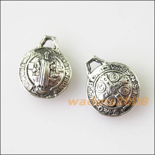 15 New Jesus Cross Round Tibetan Silver Tone Charms Pendants 9.5x12mm