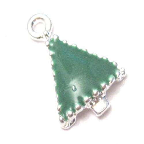A8151 5 pcs of Christmas Tree Zinc Alloy Enamel Charm Pendants