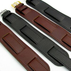 Military-Watch-Band-Cuff-Style-Genuine-Heavy-Leather-Choice-of-colors-D024