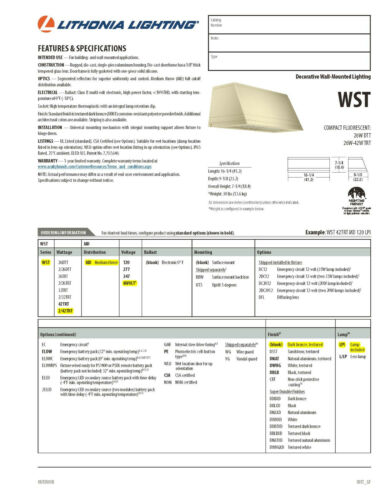 Lithonia WST Wall Pack #WST 2//42TRT MD MVolt LPI New in Box