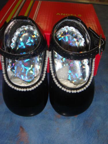 Baby Girl BLACK WHITE PEARL shoes//Wedding//Baptism//Christening //Size 2,3,4,5,6