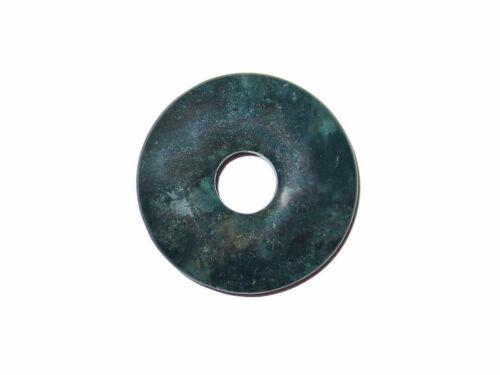 Edelstein-Anhänger Donut 30 mm Moosachat Fadenloch gebohrter Schmuckanhänger