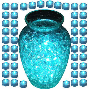 Lot of 48 TEAL Wedding LED Submersible Underwater Tea lights Flameless Candles