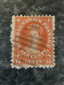 NEW BRUNSWICK POSTAGE STAMP SG17 RED TEN CENTS FINE-USED