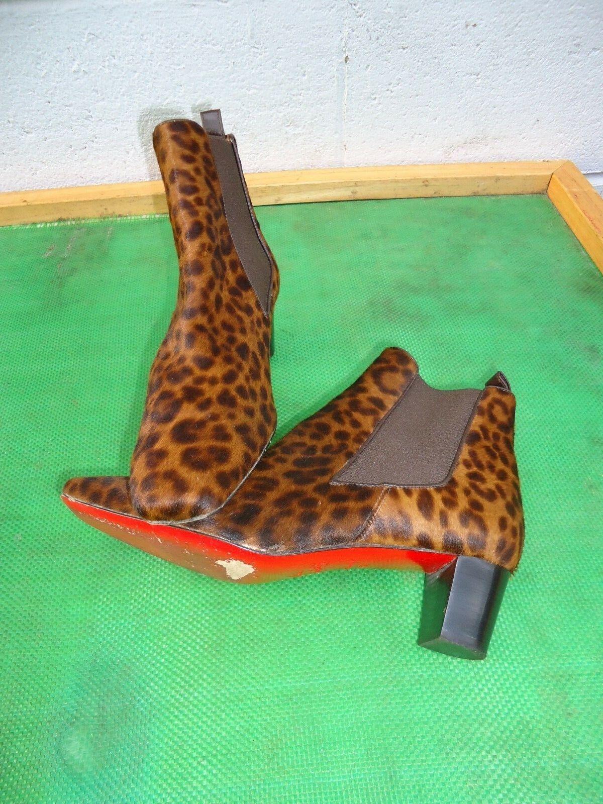 Christian Louboutin Chelsea Calf-hair  Leopard Print Ankle Boot Women SZ  37 6.5