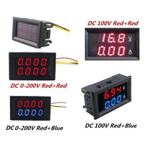 Dc 0 200v 100v 10a 3 4 Bit Voltmeter Ammeter Red Red Red Blue Led Amp Wires Uk Ebay
