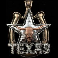 Western Longhorn Texas Star And Horseshoe Magnetic Closure Pendant