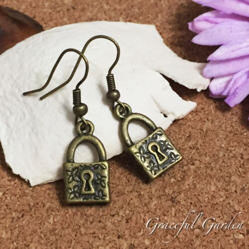 ER2726 Graceful Garden Vintage Style Bronze Tone Little Lock Charm Earrings