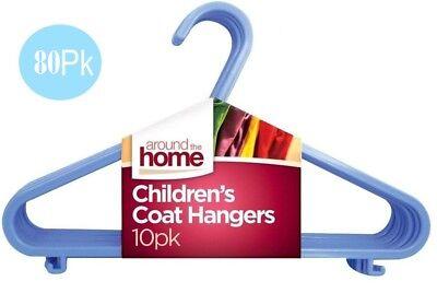 80 X Per Bambini Grucce Panni Coat Bambino Kids In Plastica Blu Hanger Nuovo-