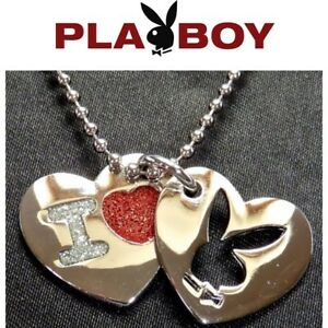 Playboy-Necklace-I-Love-Bunny-Heart-Charm-Pendant-Silver-Red-VALENTINE-039-S-DAY