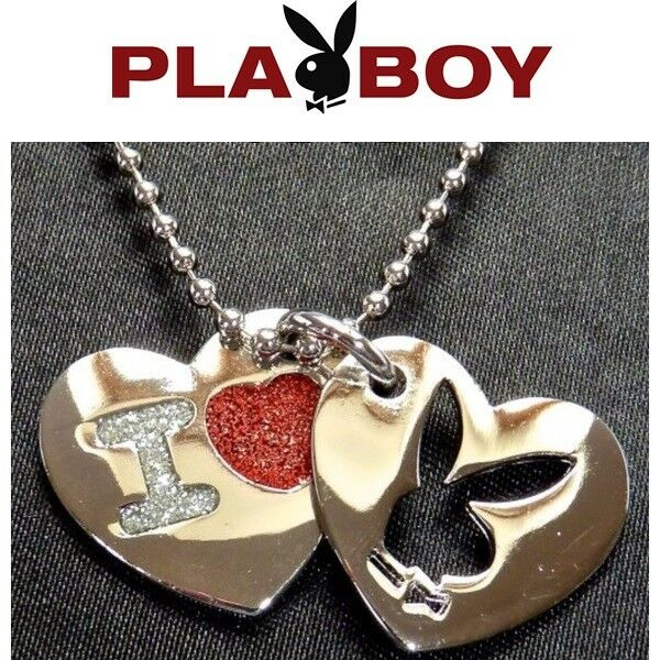 Playboy Necklace I Love Bunny Heart Charm Pendant Chain Silver Platinum Plated 5
