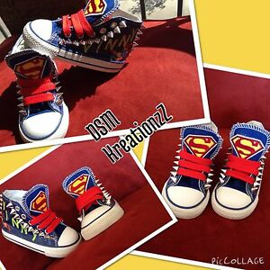 89145c8a4145 Image is loading Custom-Converse-Superman-Toddler-Shoes