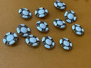 Lot De 12 Supebes Boutons Chanel Métal Cuir 26 Diametre
