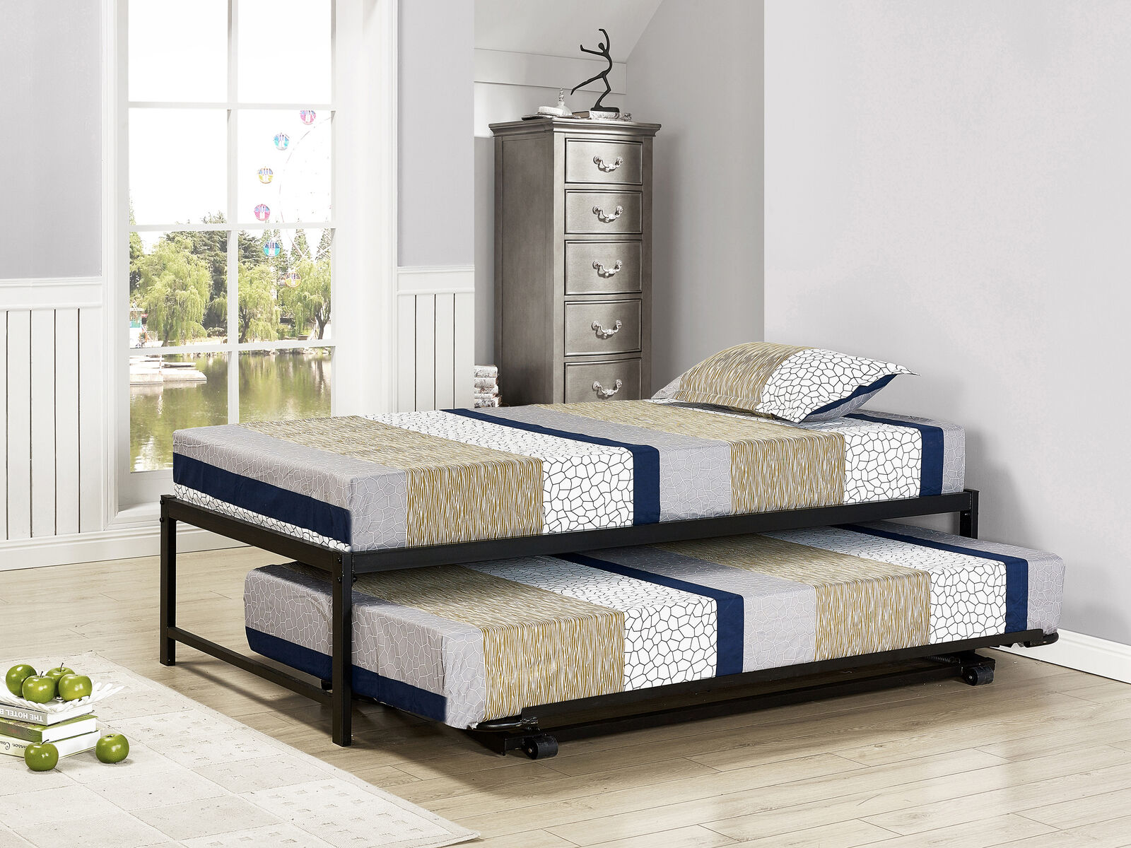 Kings Brand Ewen Pewter Metal Twin Size Daybed Pop Up Trundle Mattresses For Sale Online Ebay