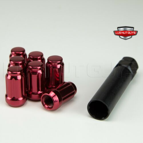 16 Lug Nuts Tuner Spline Acorn 12x1.50 Red With One Key Tool