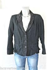 jolie luxueuse coat veste coton lin noire MARITHÉ FRANCOIS GIRBAUD taille 42