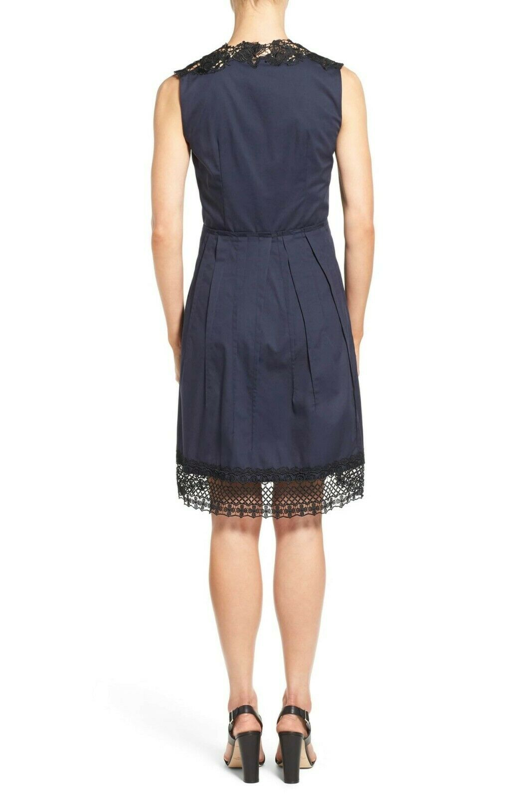 NWT Elie Tahari Cady Cady Cady in Navy bluee Poplin Cotton Lace Trim A-Line Dress 8  348 cdc929