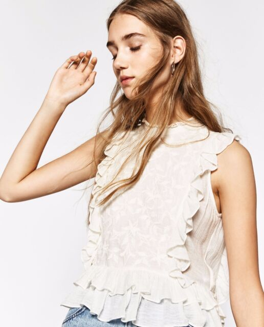 Zara Embroidered Frilled Top in Ecru size M brand new with tags