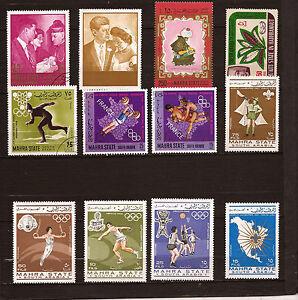 MAHRA-STATES-12-sellos-Deportes-de-los-Juegos-Olimpicos-y-pareja-Kennedy-143T3