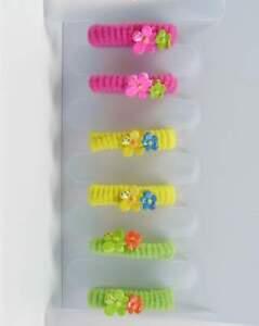 Effizient Neu 6 Haargummis/haargummi Mit Blumen In Pink/gelb/grün Kinder Haarschmuck