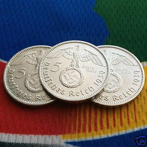 1939-A-5-Mark-German-Silver-Coin-1-WW2-Third-Reich-Swastika-Reichsmark