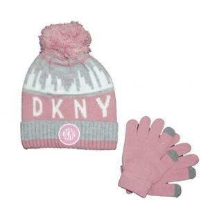 DKNY-Girls-039-Metallic-Trimmed-Knit-Hat-amp-Tech-Touch-Gloves-Set