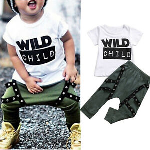 f44928ae3 Toddler Kids Baby Boys Clothes Hip Hop Tee shirts Tops Harem Pants ...