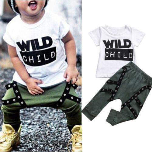 Baby Jungen Kinder Sommer  Outfits Set T Shirts Oberteil Haremhose Stoffhose