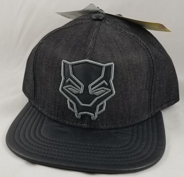 ... canada new marvel black panther embroidered logo chambray genuine snapback  hat pu bill 46e2c c0570 a2b3d92fc5ad