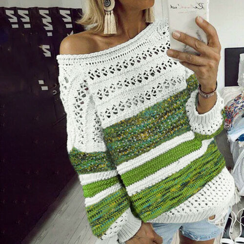 Womens Hollow Knitted Sweater Ladies Winter Warm Loose Pullover Jumper To,UBDAU