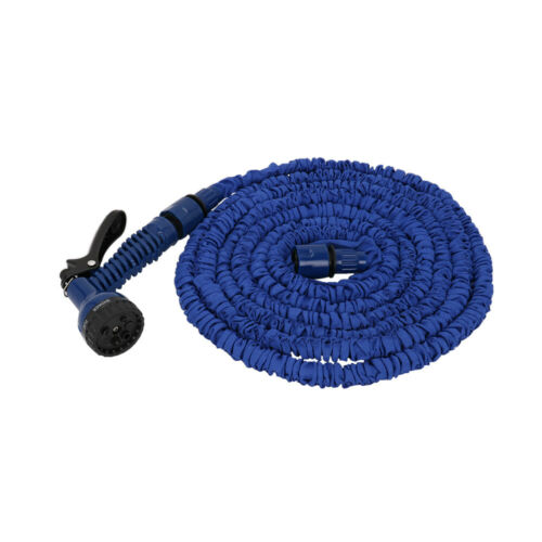50 100 FT Latex Expanding Garden Water Hose Blue with Spray Nozzle Home Tool