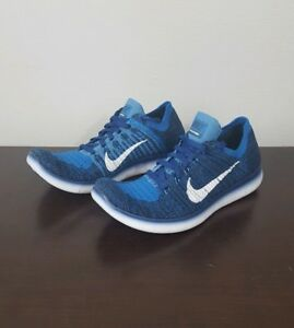 30bcfbfdbba5c1 Nike Free Run Flyknit GS Coastal Blue Running Shoes Size 5.5y 834362 ...