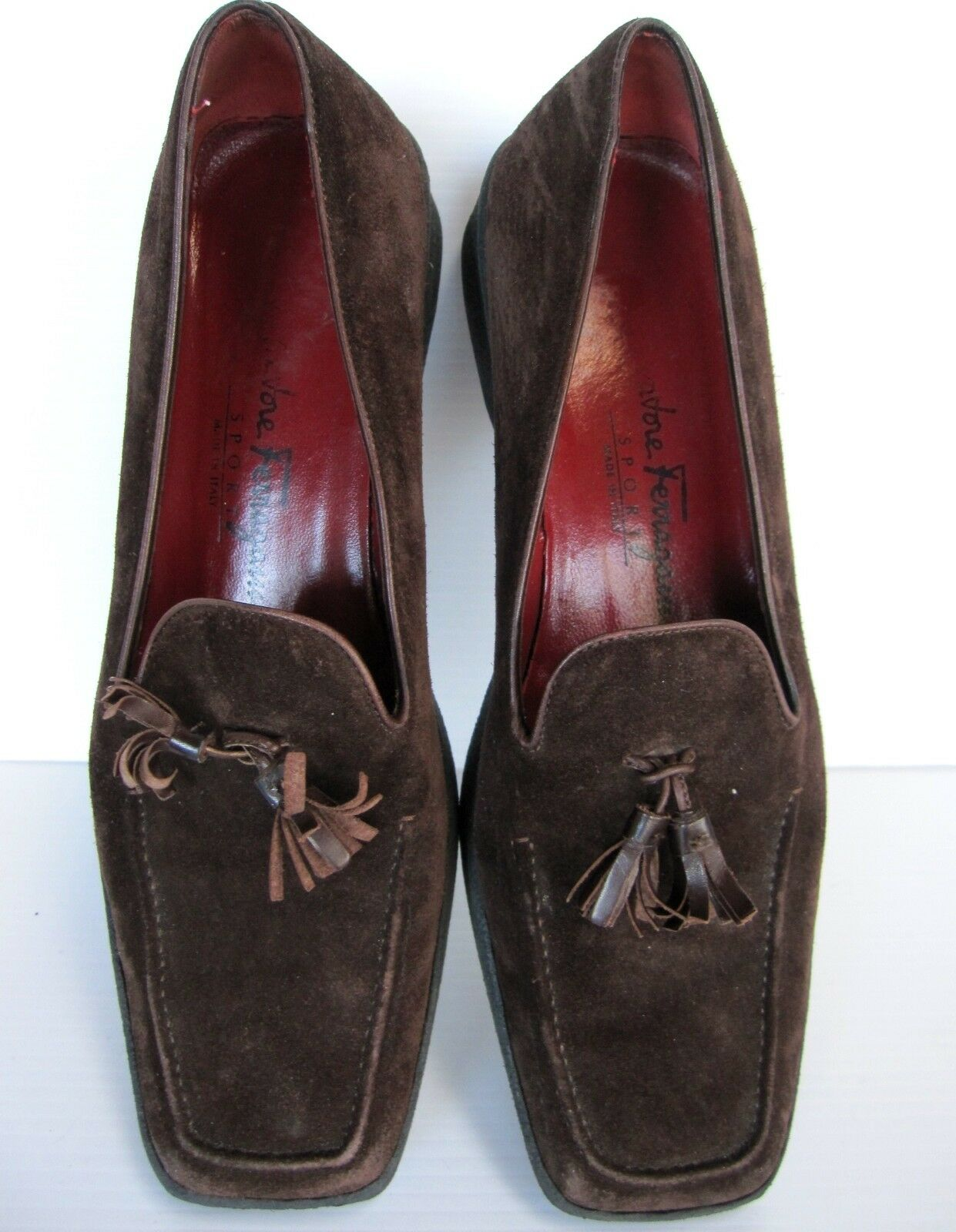 SALVATORE ITALY FERRAGAMO SPORT MADE IN ITALY SALVATORE SUEDE SLIP ON Schuhe SIZE 8 1/2 B BROWN d00481