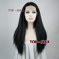 Lace Front Hair 20 Inches Heat Resistant Full Black Long Straight Women Girl Wig