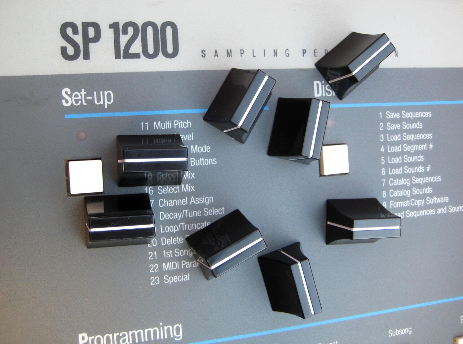 VERY COOL Shiny Fat Cap Slider Caps for E-mu SP1200 -Full Set of 8 New NOS-MINT