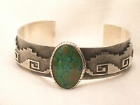 Estate Sterling Silver Men's Db Signed Native American Turquoise Cuff Bracelet