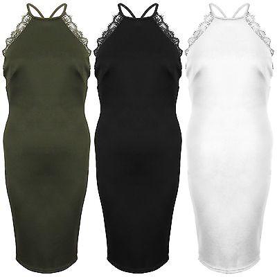 Women Eyelash Lace Trim Strappy Halter Neck Backless Midy Zip Bodycon Pary Dress