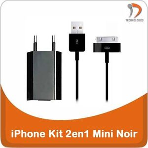 iPhone-3G-4-4S-iPod-Chargeur-2en1-Cable-USB-iPhone-3GS-3G-Oplader-2in1-Black