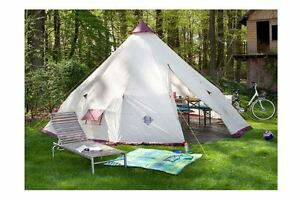 Image is loading Giant-Teepee-Tent-12-Person-Tipi-w-Centre- & Giant Teepee Tent 12 Person Tipi w Centre Pole 10ft Headroom PU ...