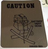 KAWASAKI Z900 KZ900 Z900A4 BATTERY BREATHER CAUTION WARNING DECAL